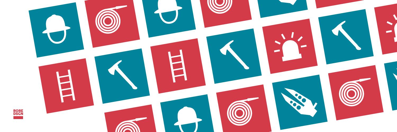 Icons der Freiwilligen Feuerwehr Landau-Land. Design: RORE DESIGN
