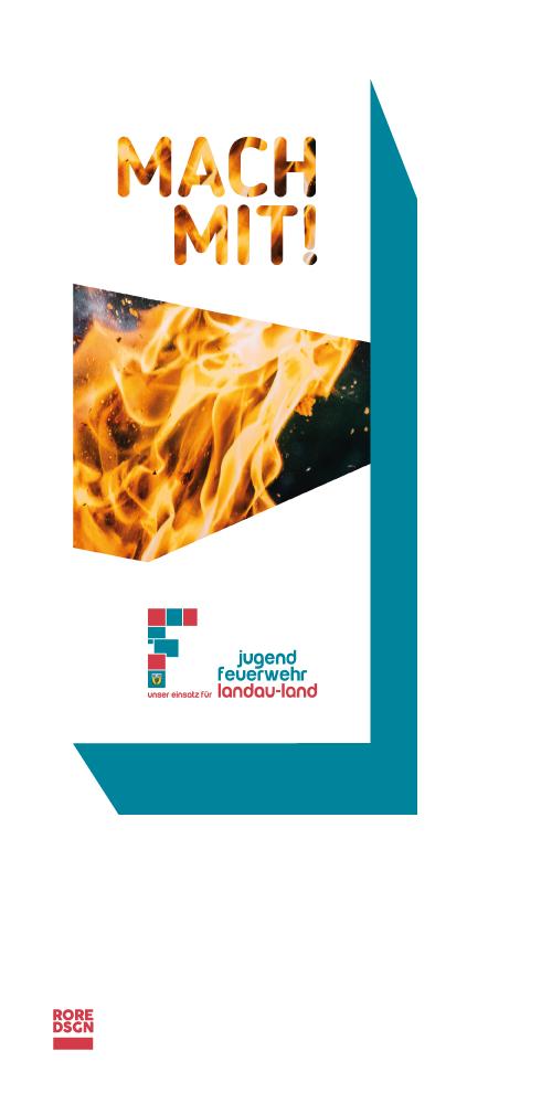 Flyer für die Jugendfeuerwehr Landau-Land. Design: RORE DESIGN