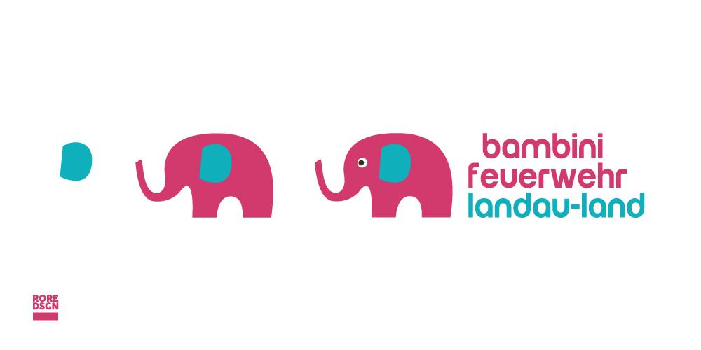 Entwicklung Logo der Bambini Feuerwehr Landau-Land. Design: RORE DESIGN