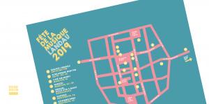 Vorstellung der Grafik des Programmflyers & des Plakats des Fête de la musiqe 2019 in Landau. Design: RORE DESIGN - Grafikdesign aus Landau