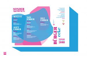 Vorstellung der Grafik des Programmflyers der Bürgerecke Neustadt - Herbst/Winter 2018. Design: RORE DESIGN - Grafikdesign aus Landau